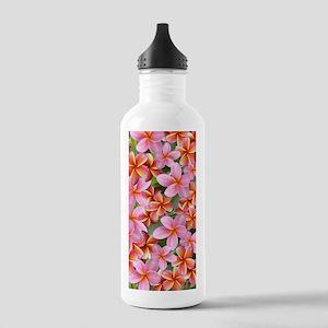 Pink Plumeria Flowers Water Bottle