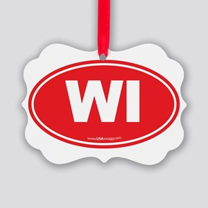 Wisconsin WI Euro Oval Picture Ornament