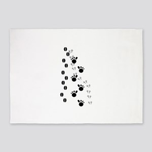 Animal Tracks Silhouette 5'x7'Area Rug