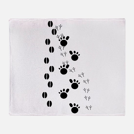 Animal Tracks Silhouette Throw Blanket
