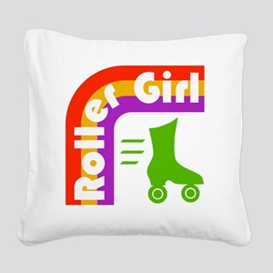 Roller Girl Square Canvas Pillow