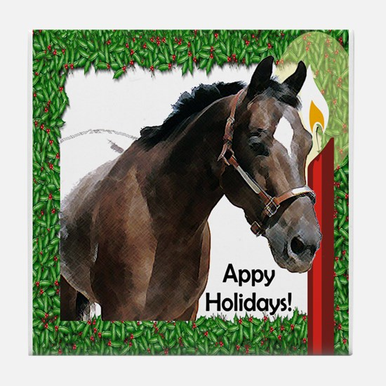 Appy Holidays Tile Coaster holly