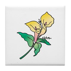 Yellow Floral Art Tile Coaster