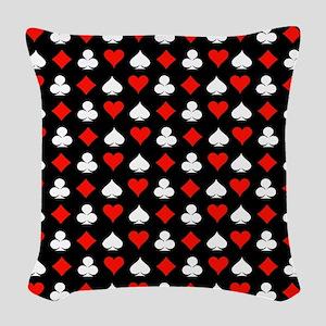 Poker Symbols Woven Throw Pillow