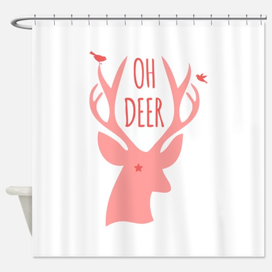 Oh deer, coral Shower Curtain