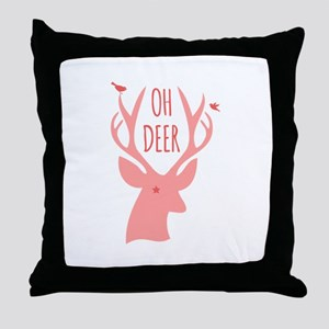 Oh deer, coral Throw Pillow