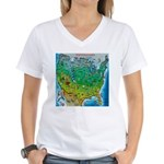 USA Cartoon Map Women's V-Neck T-Shirt