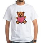 Valentine Art Heart and Teddy Bear White T-Shirt