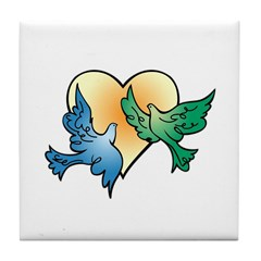 Valentine Art Birds and Heart Tile Coaster