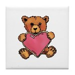 Valentine Art Heart and Teddy Bear Tile Coaster