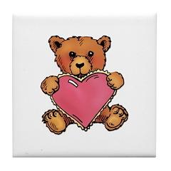 Valentine Art Heart and Teddy Bear Tile Coaster