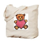 Valentine Art Heart and Teddy Bear Tote Bag