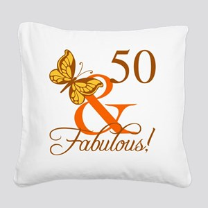 50th Birthday Butterfly Square Canvas Pillow