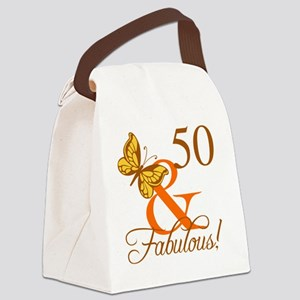 50th Birthday Butterfly Canvas Lunch Bag