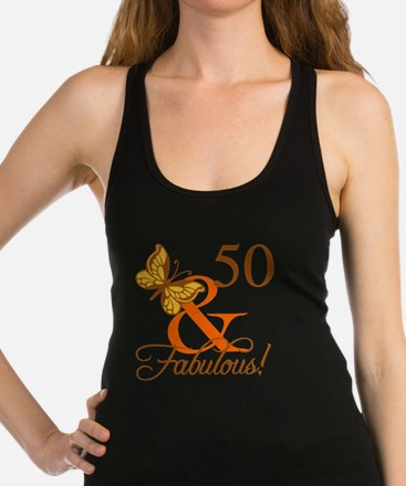 50th Birthday Butterfly Racerback Tank Top