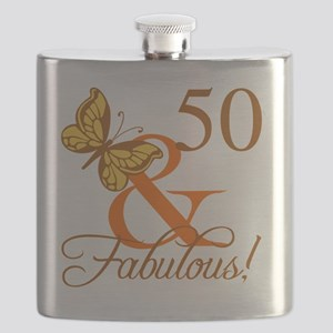 50th Birthday Butterfly Flask