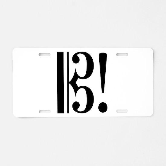 AltoClefExclaimBlk.jpg Aluminum License Plate