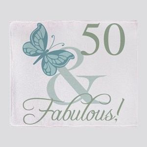 50th Birthday Butterfly Throw Blanket