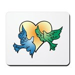 Valentine Art Birds and Heart Mousepad