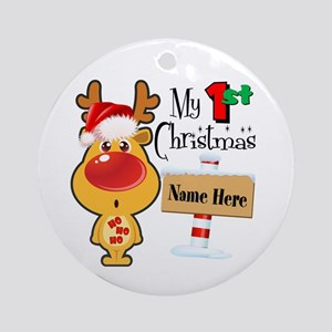 First Christmas Reindeer Ornament (round)