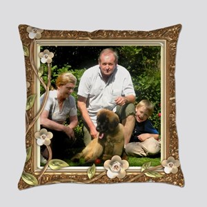 Personalizable Golden Flowers Frame Master Pillow