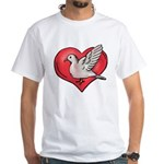 Valentine Art Heart and Bird White T-Shirt