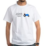 Blue Christmas Tractor White T-Shirt