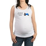 Blue Christmas Tractor Maternity Tank Top