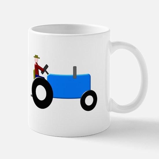 Blue Christmas Tractor Mug