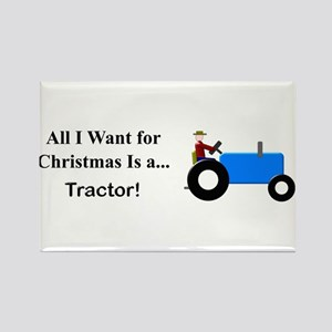 Blue Christmas Tractor Rectangle Magnet