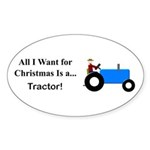 Blue Christmas Tractor Sticker (Oval 50 pk)