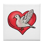 Valentine Art Heart and Bird Tile Coaster