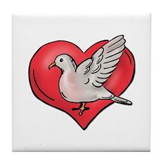 Valentine Art Heart and Bird Tile Coaster
