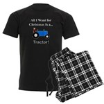 Blue Christmas Tractor Men's Dark Pajamas