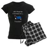 Blue Christmas Tractor Women's Dark Pajamas