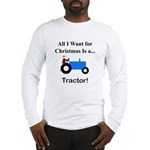 Blue Christmas Tractor Long Sleeve T-Shirt
