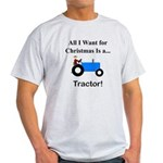 Blue Christmas Tractor Light T-Shirt