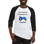 Blue Christmas Tractor Baseball Jersey