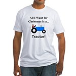 Blue Christmas Tractor Fitted T-Shirt