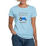 Blue Christmas Tractor Women's Light T-Shirt