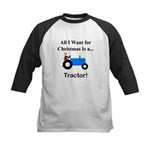 Blue Christmas Tractor Kids Baseball Jersey