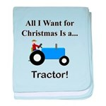 Blue Christmas Tractor baby blanket