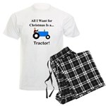 Blue Christmas Tractor Men's Light Pajamas