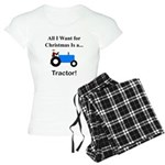 Blue Christmas Tractor Women's Light Pajamas