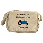 Blue Christmas Tractor Messenger Bag