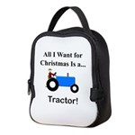 Blue Christmas Tractor Neoprene Lunch Bag