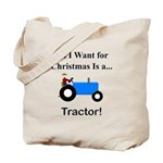 Blue Christmas Tractor Tote Bag