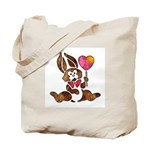 Valentine Art Heart and Bunny Rabbit Tote Bag