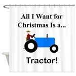 Blue Christmas Tractor Shower Curtain