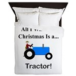 Blue Christmas Tractor Queen Duvet